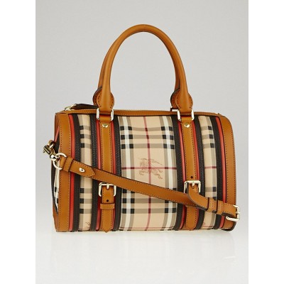 Burberry Autumn Leather Haymarket Check Coated Canvas Medium Alchester Bowling Bag