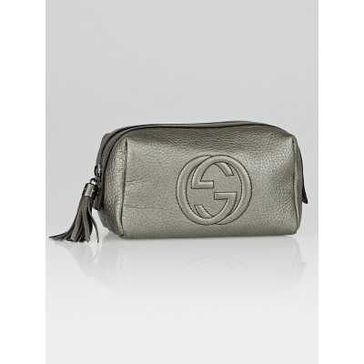 Gucci Dark Silver Pebbled Leather Soho Cosmetic Pouch