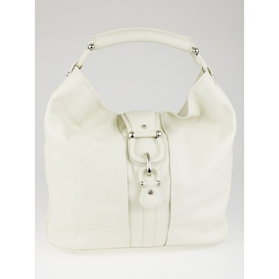 Burberry White Leather Extra Large Hillgate Hobo Bag