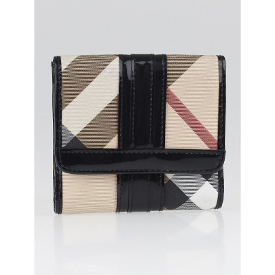 Burberry Supernova Check Coated Canvas Compact Wallet