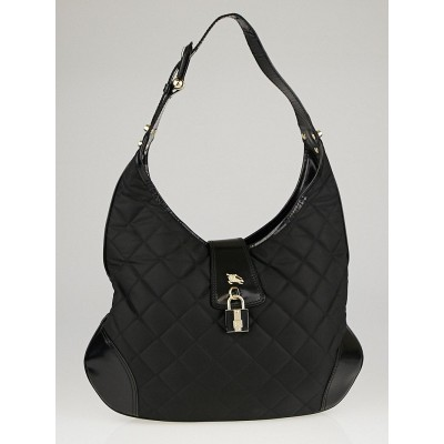 Burberry Black Quilted Nylon and Leather Brook Hobo Bag