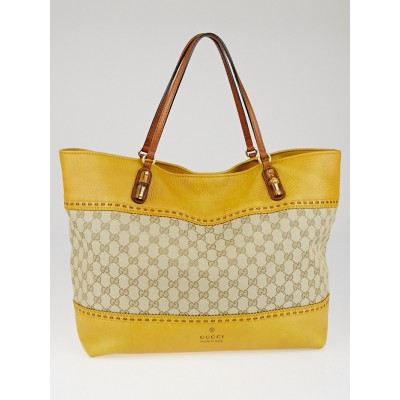 Gucci Beige/Yellow GG Canvas Laidback Crafty Tote Bag