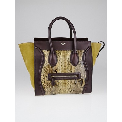 Celine Yellow/Burgundy Python and Leather Mini Luggage Tote Bag