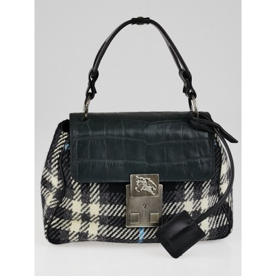 Burberry Black Check Knit Fabric and Embossed Leather Top Handle Bag