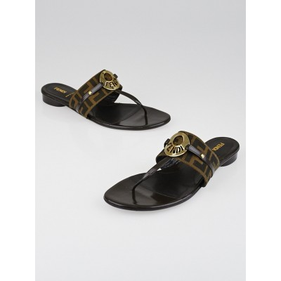 Fendi Tobacco Zucca Print Canvas Flat Thong Sandals Size 9.5/40