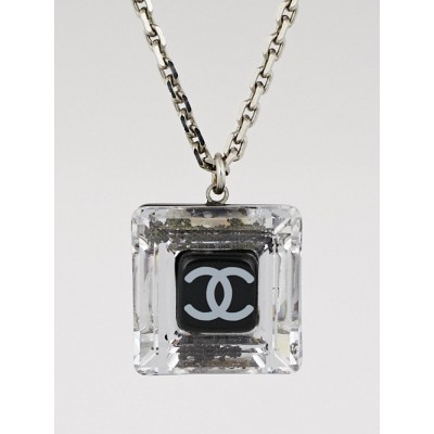 Chanel Silvertone Crystal Resin CC Pendant Necklace