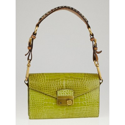 Prada Edera Cocco Lucido Alligator Flap Shoulder Bag BR2146