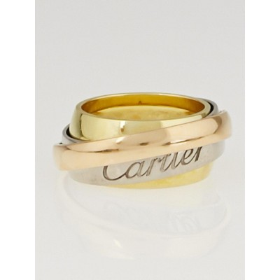 Cartier 18k Tri-Gold Must Essence Trinity Ring Size 49/5
