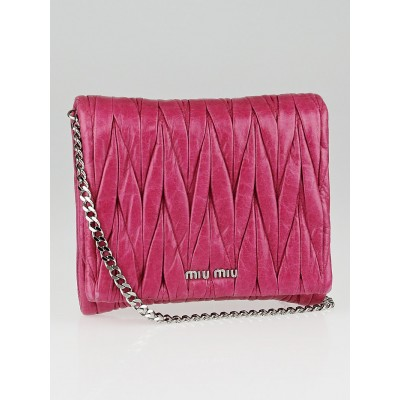 Miu Miu Pink Matelasse Lux Leather Chain Crossbody Bag