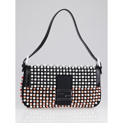 Fendi Black Canvas Multicolor Stud Applique Super Bowl Baguette Bag 8BR600