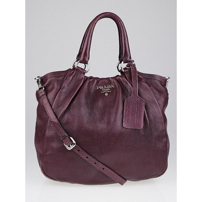 Prada Purple Cervo Leather Shopping Tote Bag