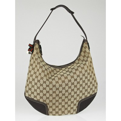 Gucci Beige/Ebony GG Canvas Princy Hobo Bag