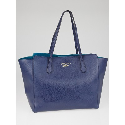 Gucci Blue/Teal Pebbled Calfskin Leather Medium Swing Tote Bag