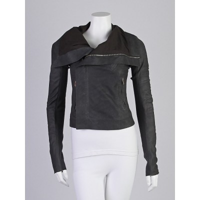 Rick Owens Grey Blister Lambskin Leather Classic Biker Jacket Size 4