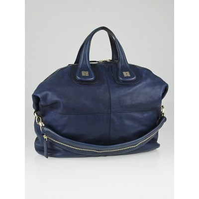 Givenchy Navy Blue Lambskin Leather Large Nightingale Bag