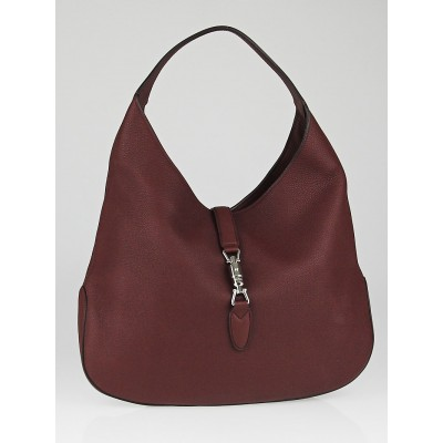 Gucci Dark Red Pebbled Leather Soft Jackie Hobo Bag