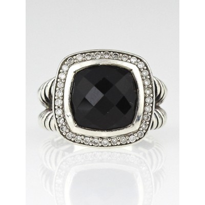 David Yurman 11mm Black Onyx and Diamond Albion Ring Size 6