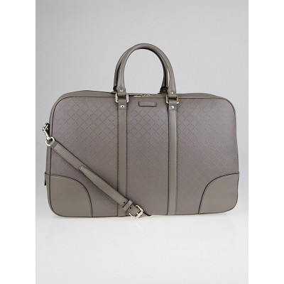 Gucci Grey Diamante Textured Leather Hilary Duffle Bag w/ Strap