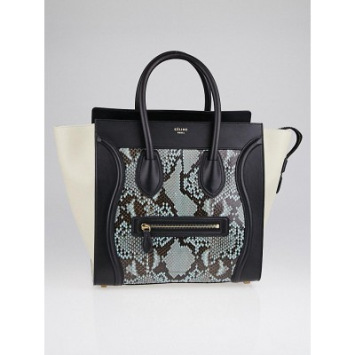Celine Azur Python and Leather Mini Luggage Tote Bag