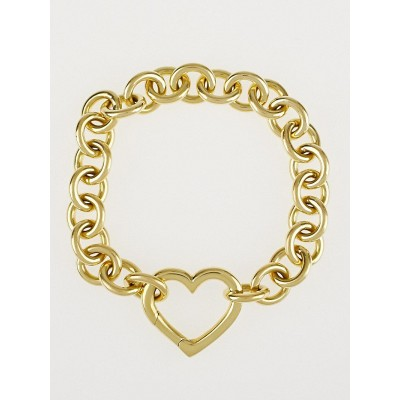 Tiffany & Co. 18k Gold Chain Link Heart Bracelet
