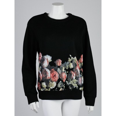 Givenchy Black Rose Print Cotton Sweater Size M