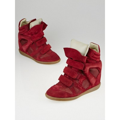 Isabel Marant Burgundy Suede and Leather Burt Sneaker Wedges Size 9.5/40