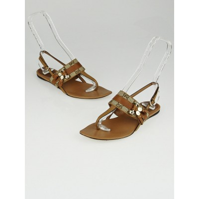 Gucci Beige/Ebony GG Canvas Brown Leather Marrakech Flat Thong Sandals Size 7.5/38