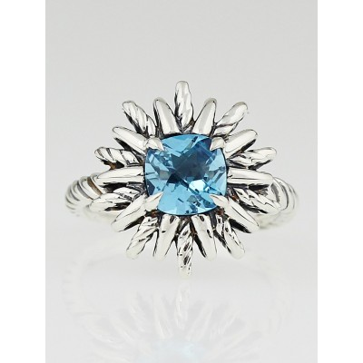 David Yurman Sterling Silver and Blue Topaz Starburst Ring Size 7