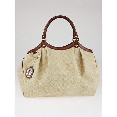 Gucci Beige/Brown GG Natural Canvas Large Sukey Tote Bag