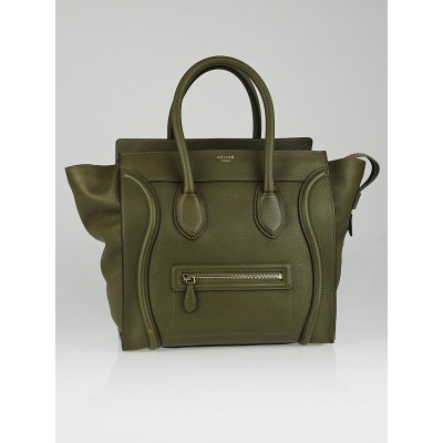 Celine Khaki Drummed Leather Mini Luggage Tote Bag