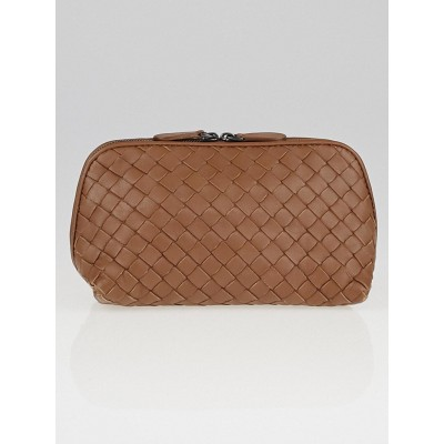 Bottega Veneta Noce Intrecciato Woven Nappa Leather Cosmetic Case