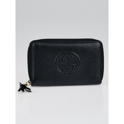 Gucci Black Leather Soho Medium Zippy Wallet