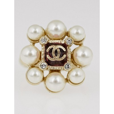 Chanel Brushed Goldtone Faux Pearl CC Ring Size 6