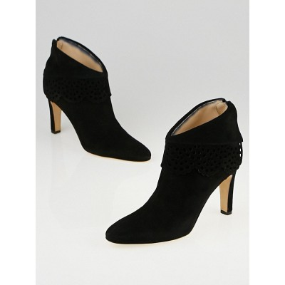 Manolo Blahnik Black Suede Laser-Cut Cortinany Ankle Boots Size 7.5/38