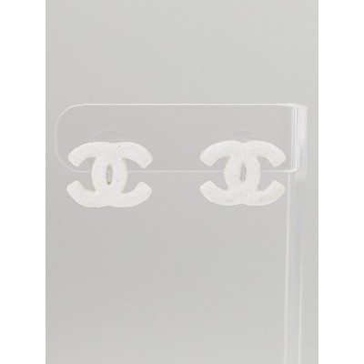 Chanel White Textured CC Stud Earrings