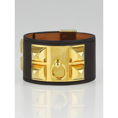 Hermes Ebene Swift Leather Gold Plated Collier de Chien Bracelet Size S