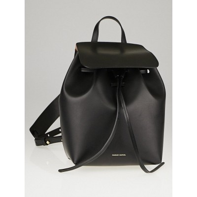 Mansur Gavriel Black/Ballerina Leather Mini Backpack Bag