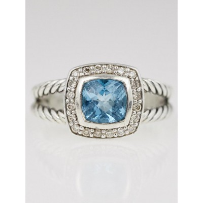David Yurman 7mm Blue Topaz and Diamond Petite Albion Ring Size 7.5