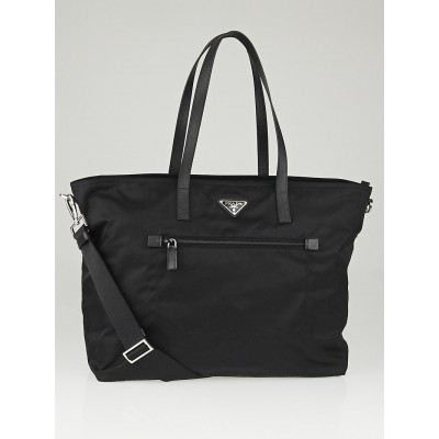 Prada Black Vela Nylon and Saffiano Leather Large Tote Bag BR4697