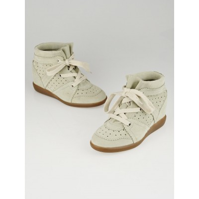 Isabel Marant Chalk Suede Bobby Sneaker Wedges Size 6.5/37