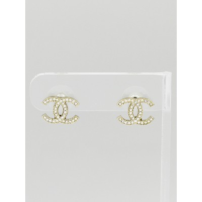 Chanel Silver Crystal CC Stud Earrings