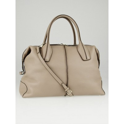 Tod's Beige Pebbled Leather D-Styling Medium Bauletto Bag