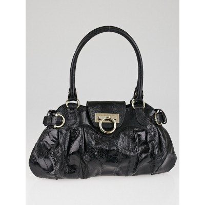 Salvatore Ferragamo Black Ostrich Leg Leather Marisa Shoulder Bag
