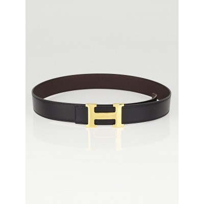 Hermes 32mm Black Box/Ebene Clemence Leather Gold Plated Constance H Belt Size 80