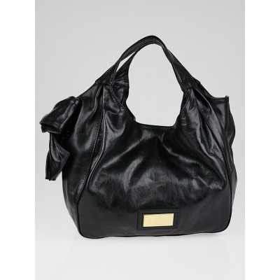 Valentino Black Leather Nuage Bow Small Tote Bag
