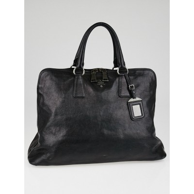 Prada Black Leather Top Handle Bag BL0826