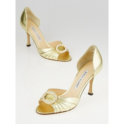 Manolo Blahnik Gold Nappa Leather Sedaraby Crystal d'Orsary Peep-Toe Pumps Size 5/35.5