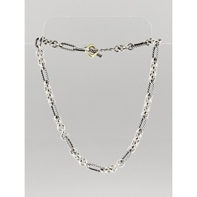 "David Yurman Sterling Silver and 18k Gold Figaro 16""Chain Necklace"
