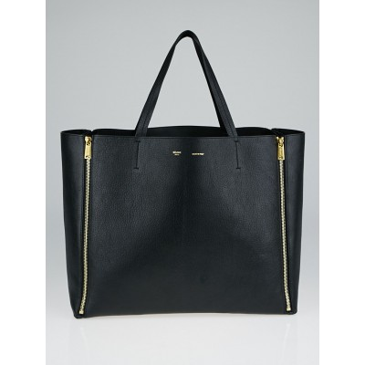 Celine Black Shiny Goatskin Leather Cabas Horizontal Bag