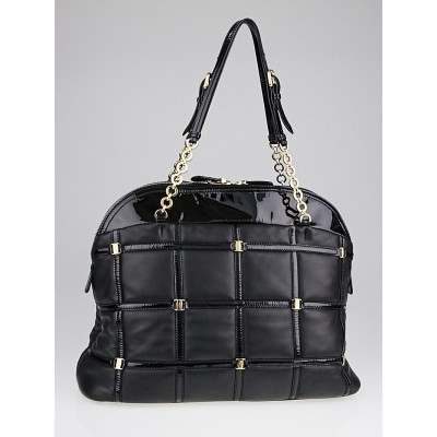 Salvatore Ferragamo Black Leather Square Quilt Tote Bag